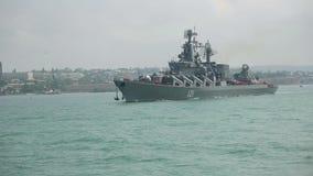 Rysk krigsskepp stock video