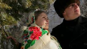 Rysk man och kvinna arkivfilmer