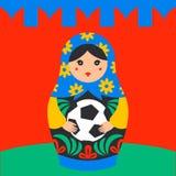 Rysk matrioshka Ryssland symbol med fotbollbollen och den kremlin väggen på bakgrund Bygga bo för ryss för vektor traditionellt stock illustrationer