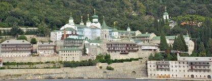 Rysk moastery på monteringen Athos Greece Arkivbilder