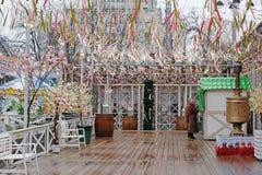 Rysk nationell festival` Shrove ` på den Tverskaya fyrkanten i Moskva Royaltyfri Foto