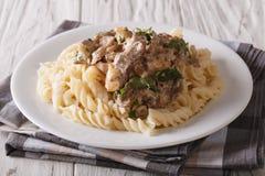 Rysk nötköttstroganoff med pastafusillicloseupen på en platta H Royaltyfri Bild