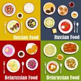 Rysk och vitrysk nationell kokkonst royaltyfri illustrationer