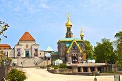 Rysk ortodox kyrka Darmstadt Fotografering för Bildbyråer