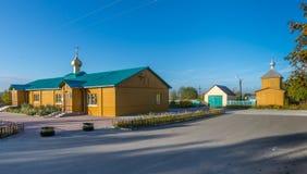 Rysk ortodox kyrka för träheligt antagande Arkivbilder