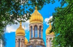 Rysk ortodox kyrka i Wiesbaden, Tyskland Royaltyfria Foton