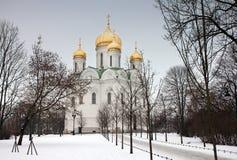 Rysk ortodox kyrka på vinterdagen Fotografering för Bildbyråer