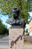 RYSK POETALEXANDER PUSHKIN MONUMENT I ESTLAND Arkivbild