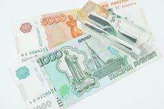 Rysk rubel fem tusentals och tusen Arkivfoto