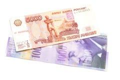 Rysk rubel och schweizisk franc fotografering för bildbyråer