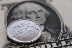 Rysk rubel och US dollar Arkivfoton