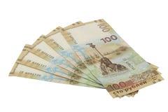 Rysk sedel som 100 rubel är hängiven till annekteringen av Krim 2015 Arkivfoto