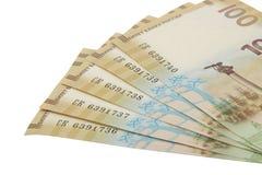 Rysk sedel som 100 rubel är hängiven till annekteringen av Krim 2015 Arkivfoton