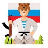 Rysk soldat Humor Concept för vektor Färgrik tecknad filmillustration för plan stil vektor illustrationer