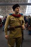 Rysk soldat på Militalia 2013 i Milan, Italien Royaltyfri Foto