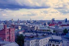 Rysk stadssikt i aftonen Royaltyfria Foton