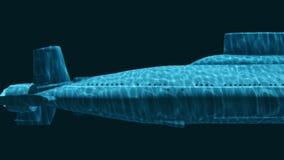 Rysk ubåt för kärn- missil på ett djup 4K royaltyfri illustrationer
