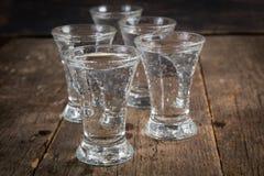 Rysk vodka i skottexponeringsglas arkivbild