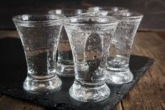 Rysk vodka i skottexponeringsglas royaltyfria foton