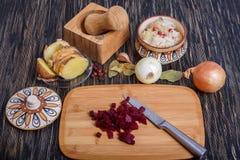 Ryska ättiksåsingredienser: potatisar, beta, morötter, på burk ärtor, inlagd kål, solrosolja och dill Arkivbilder