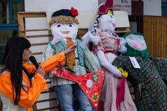 Ryska folk övervintrar festival i den Kaluga regionen på mars 13, 2016 Arkivbilder