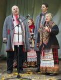 Ryska folk ansamble Lenok royaltyfria bilder