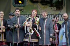 Ryska folk ansamble Lenok fotografering för bildbyråer