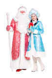 Ryska jultecken Ded Moroz och Snegurochka Arkivfoton