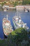 Ryska marinkrigsskepp på fjärden av Sevastopol, Krim, Ukraina Arkivbilder