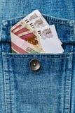 Ryska nationella pengar - mindre därefter 5 USD - i jeans klår upp pocke Fotografering för Bildbyråer