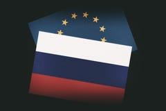 Ryska och europeiska fackliga flaggor Royaltyfri Fotografi