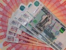 Ryska pengar av 5000 och 1000 rubel Arkivfoto