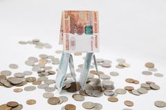 Ryska pengar på en vit bakgrund Royaltyfri Foto