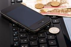 Ryska rubel över bärbar datortangentbordet Royaltyfria Foton