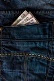 Ryska rubel i ett jeansfack Royaltyfri Bild