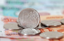 Ryska rubel mynt och sedlar Arkivbild