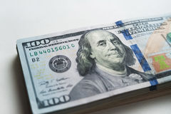 Ryska rubel och amerikanska dollar Arkivfoton
