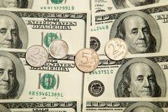 Ryska rubel och U S Dollar Arkivbild