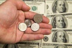 Ryska rubel och U S Dollar Arkivfoto