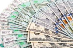 Ryska rubel och US dollar Arkivbild