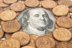 Ryska rubel och US dollar Royaltyfria Bilder