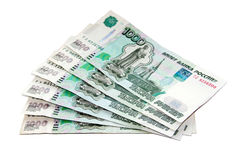 Ryska rubel (sedlar 1000) på en vit bakgrund Royaltyfria Bilder