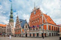Ryski, Latvia - 25-August-2015: Urzędu Miasta kwadrat Fotografia Stock