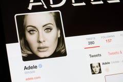 RYSKI, LATVIA, Luty - 02, 2017: Na całym świecie gwiazdowy Adele ` s świergotu profil Obrazy Royalty Free