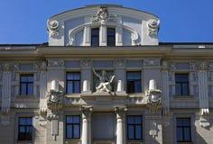 Ryski, Vilandes 1, dom w stylu dekoracyjnej sztuki Nouveau wystroju elementów Zdjęcia Stock