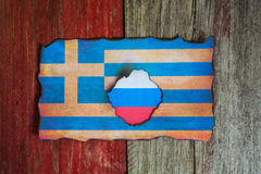 Ryskt grekiskt flaggabegrepp arkivfoto