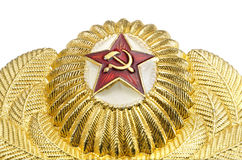 Ryskt militärt guld- emblem med en röd stjärna Royaltyfria Bilder