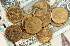 Ryskt mynt och anmärkningar Royaltyfri Fotografi