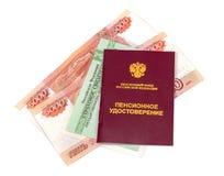 Ryskt pensioncertifikat och certifikat av försäkring Arkivbild