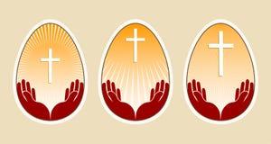 Rysować Easter jajko z krzyżem i rękami, set, ilustracji